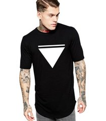 camiseta criativa urbana long line oversized triangulo