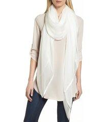 women's nordstrom satin border silk chiffon scarf, size one size - ivory