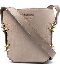 see by chloé logo-embossed drawstring shoulder bag - grey