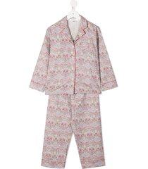 bonpoint paisley-print pajama set - purple