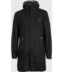 abrigo ellus capucha nylon desmontable negro - calce regular