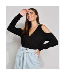 blusa de tricô feminina manga longa open shoulder canelada decote v preta