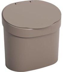 lixeira basic com tampa 4 litros 22,8x15,6x22,4cm warm gray - 10902/0126 - coza - coza