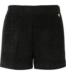 twin-set tweed shorts - black