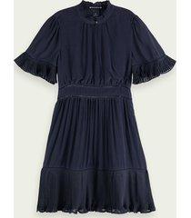 scotch & soda geplooide mini-jurk met korte mouwen
