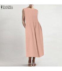 vestido largo sin mangas de mujer zanzea vestido sin mangas liso de verano vestido de verano tallas grandes -rosado