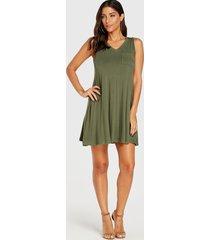 vestido sin mangas con cuello en v verde militar de yoins
