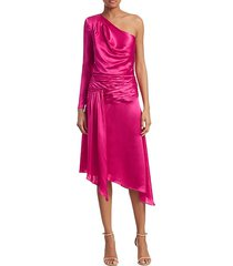 satin one-shoulder asymmetric a-line dress