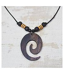 ebony wood pendant necklace, 'glorious spiral' (ghana)
