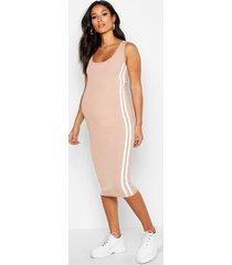 zwangerschap geribbelde midi bodycon jurk met zijstreep, zand