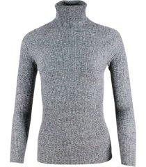 fabiana filippi lightweight turtleneck sweater in wool, silk and cashmere with stretch half english rib knit