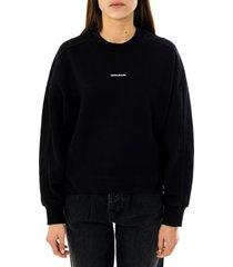 calvin klein felpa donna micro branding sweatshirt j20j215463.beh
