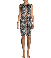sleeveless stretch-silk floral sheath dress