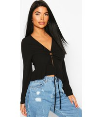 petite ruched detail woven top, black
