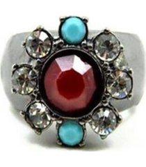 anel armazém rr bijoux pedra vermelha e azul