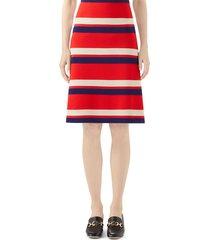 women's gucci stripe wool skirt
