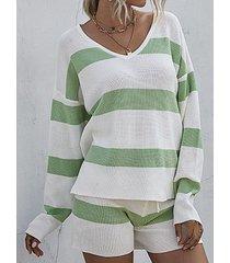 lounge striped sweater shorts two piece set
