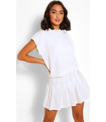high neck knitted top, ivory