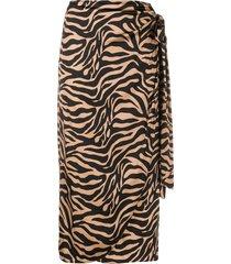 andamane zebra-print draped satin midi skirt - brown