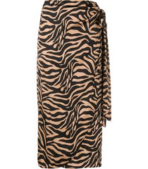 andamane zebra-print draped satin midi skirt - brown