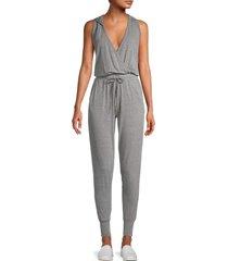 splendid women's hooded faux wrap jumpsuit - grey - size m