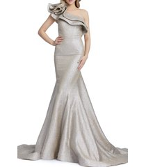 women's mac duggal asymmetrical ruffle trumpet gown, size 4 - grey