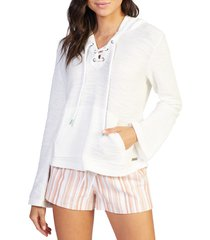 roxy pearling lace-up hoodie, size x-small in snow white at nordstrom