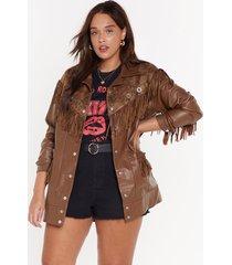 womens fringe binge snake plus jacket - brown