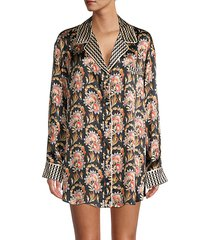 floral-print silk sleep shirt