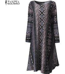 zanzea mujeres geométrica de impresión vestidos casuales de manga larga cuello de o flojo asimétrico vestido holgado femininas vestidos de gran tamaño -gris