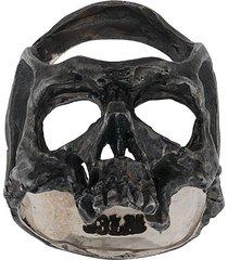 13 lucky monkey hammered skull ring - silver