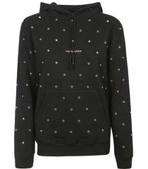 saint laurent studded logo hoodie