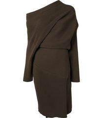 proenza schouler one shoulder chunky rib midi dress - brown