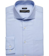 pronto uomo men's blue patterned modern fit dress shirt - size: 17 1/2 36/37 - only available at men's wearhouse