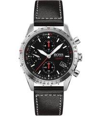 boss men's chronograph aero black leather strap watch 44mm