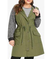 plus size drawstring waisted panel longline hooded coat