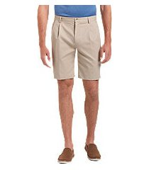 traveler collection traditional fit pleated front twill shorts by jos. a. bank