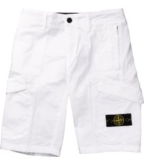 stone island canvas bermuda with white pockets