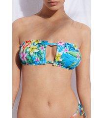 calzedonia adjustable bandeau swimsuit top honolulu woman blue size 2