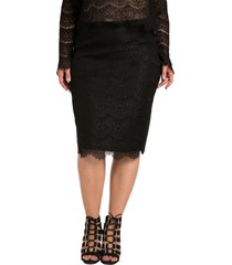 plus size women's standards & practices tori lace overlay pencil skirt, size 1x - black