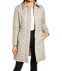 women's via spiga mix stitch quilted walker jacket, size small - beige