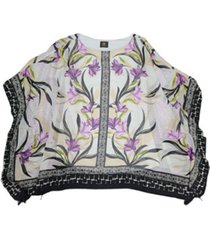 jm collection parker petals mixed-print poncho, created for macy's