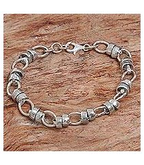 sterling silver link bracelet, 'family ties' (indonesia)
