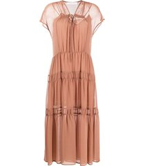 see by chloé short-sleeve tiered dress - brown