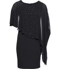 abito di jersey con chiffon (nero) - bodyflirt boutique