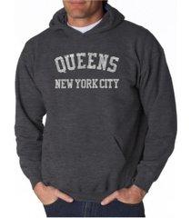 la pop art men's word art hoodie - queens ny neighborhoods
