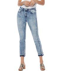 women's wash lab olivia mini flare fray hem crop skinny jeans, size 27 - blue