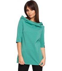 sweater be b026 korte mouwen blouse met kap - groen