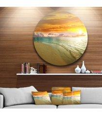 "designart 'amazingly colorful beach with footprints' seascape metal circle wall art - 38"" x 38"""