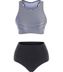 ruched high waisted stripes tankini swimwear